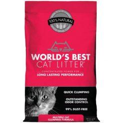 World's Best Multi-Cat Unscented Clumping Corn Cat Litter, 14-lb Bag.