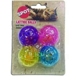 Ethical Pet Lattice Balls Plastic & Bell Cat Toy, 4 Pack.