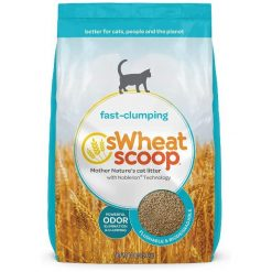 sWheat Scoop Natural Unscented Clumping Wheat Cat Litter, 12-lb Bag.