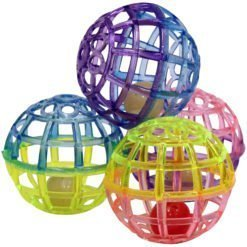Ethical Pet Spot Lattice Balls Plastic & Bell Cat Toy, 4 Pack.