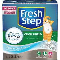 Fresh Step Odor Shield Scented Clumping Clay Cat Litter, 25-lb Box.