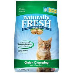 Naturally Fresh Unscented Clumping Walnut Cat Litter, 6-lb Bag.