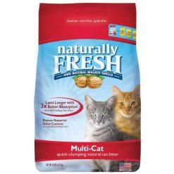 Naturally Fresh Multi-Cat Unscented Clumping Walnut Cat Litter, 14-lb Bag.