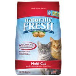 Naturally Fresh Multi-Cat Unscented Clumping Walnut Cat Litter, 26-lb Bag.