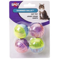 Ethical Pet Spot Shimmer Balls Cat Toy, 4 Pack.