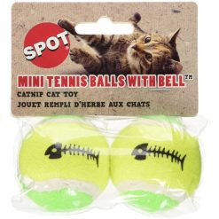 Ethical Pet Spot Tennis Ball With Catnip Cat Toy, 2 Pack.